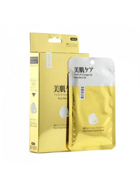 Mаска для лица премиум с аргановым маслом Mitomo Argan Oil Pure Facial Essence Mask 25 г (4582419534032)