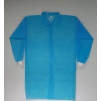 Халат для посетителей на кнопках с рукавом с манжетом р-р XXL уп.5 шт Голубой (MAS40355)