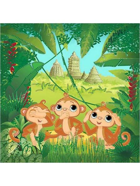 Набор для вышивки бисером Идейка Три обезьянки (27491)