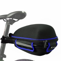 Багажник велосипедный под седло West Biking 0707151 Black + Blue с отражателями + чехол (5051-15112)