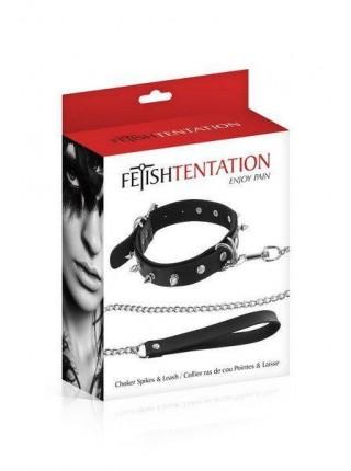 Чокер Fetish Tentation Spikes and Leash (SO2239)