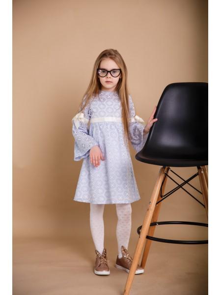Детское платье SUNROZ MiniSize из перфорированного батиста Небесно-Голубой (SUN0850)