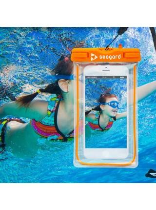 Чехол водонепроницаемый Seagard для мобильных телефонов до 6'' с люминесцентным элементом Оранжевый (SUN1006)