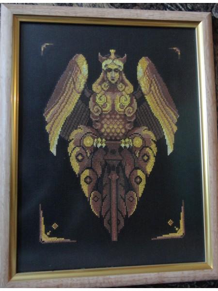 Картина «Птица-дева Алканост» вышитая крестом ручной работы 33х25 см