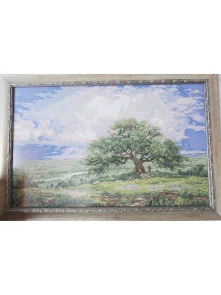 Картина «Могучий дуб» вышитая крестом ручной работы 65х40 см