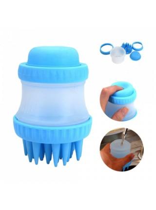 Щетка-массажер SUNROZ The Gentle Dog Washer для домашних животных с еминстю для шампуня 2 в 1 Голубой
