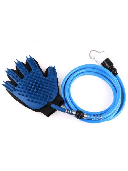Перчатка для мойки и вычесывание животных SUNROZ Pet Washer щетка-душ 2 в 1 Синий (SUN4242)