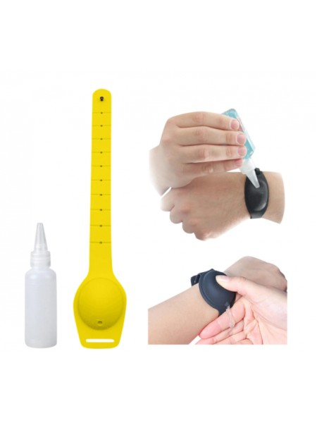 Многократный браслет-диспенсер SUNROZ Wristband Sanitizer для гелевого антисептика 10 мл Желтый (SUN7790)