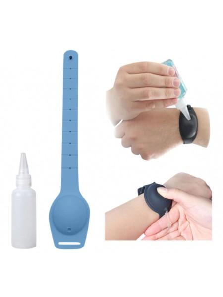 Многократный браслет-диспенсер SUNROZ Wristband Sanitizer для гелевого антисептика 10 мл Голубой (SUN7794)