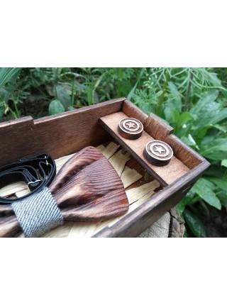 Набор деревянная бабочка галстук 3D  Джинс ручной работы, серия Зиррикот+ Запонки+Коробочка