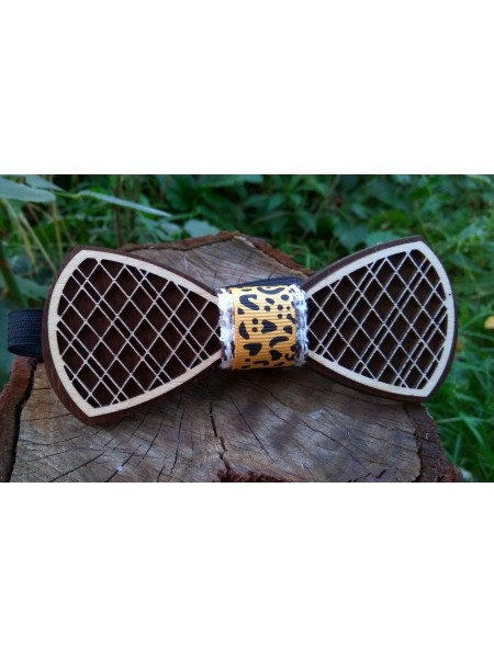 Деревянная бабочка галстук Орнамент Лео ручной работы, серия Fantasy