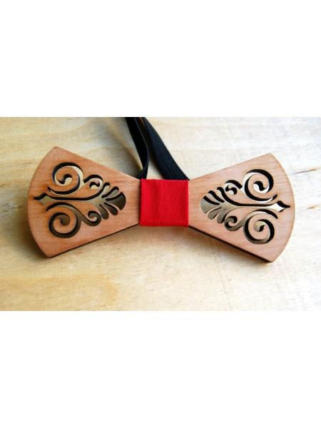 Деревянная бабочка галстук Роспись красная ручной работы