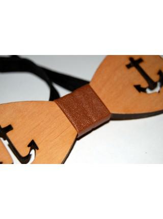 Деревянная бабочка галстук Якорь ручной работы