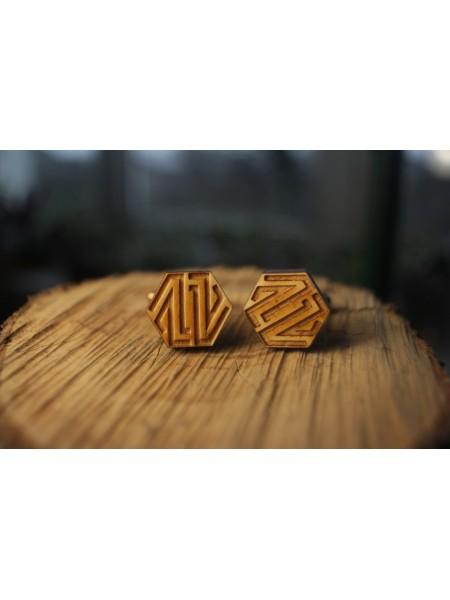 Деревянные запонки № 14 ручной работы